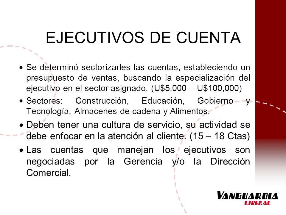 EJECUTIVOS DE CUENTA Se determinó sectorizarles las cuentas, estableciendo un presupuesto de ventas, buscando la especialización del ejecutivo en el s