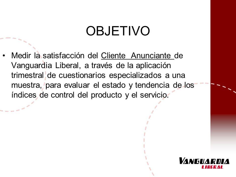 OBJETIVO Medir la satisfacción del Cliente Anunciante de Vanguardia Liberal, a través de la aplicación trimestral de cuestionarios especializados a un