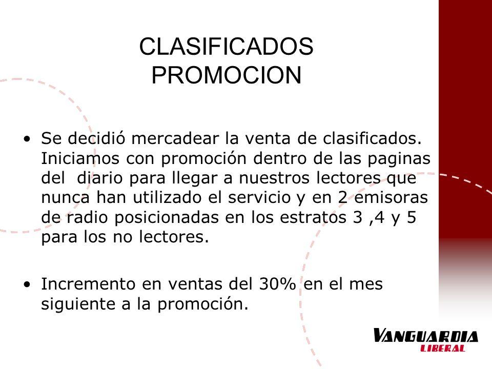 CLASIFICADOS PROMOCION Se decidió mercadear la venta de clasificados. Iniciamos con promoción dentro de las paginas del diario para llegar a nuestros