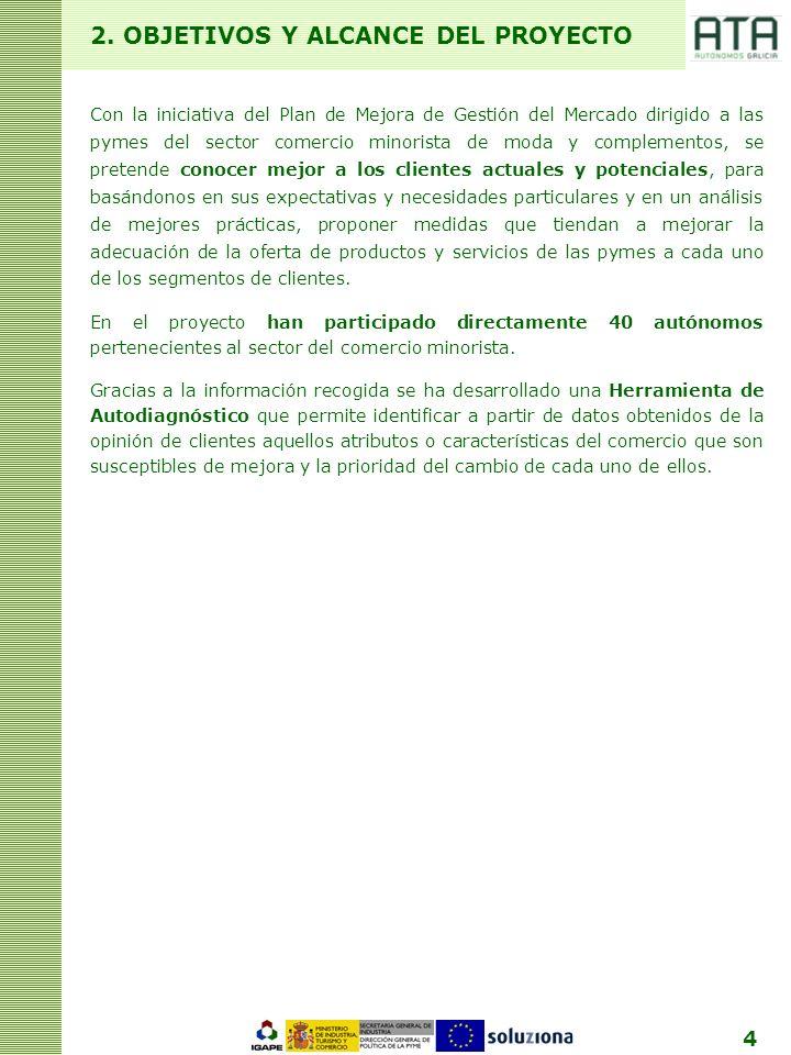 4 2. OBJETIVOS Y ALCANCE DEL PROYECTO Con la iniciativa del Plan de Mejora de Gestión del Mercado dirigido a las pymes del sector comercio minorista d