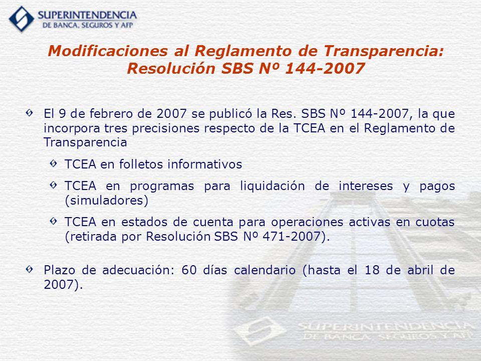 El 9 de febrero de 2007 se publicó la Res. SBS Nº 144-2007, la que incorpora tres precisiones respecto de la TCEA en el Reglamento de Transparencia TC