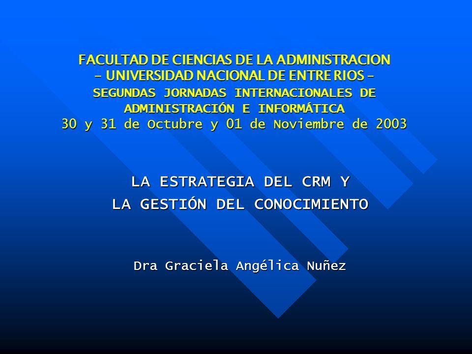 FACULTAD DE CIENCIAS DE LA ADMINISTRACION - UNIVERSIDAD NACIONAL DE ENTRE RIOS - SEGUNDAS JORNADAS INTERNACIONALES DE ADMINISTRACIÓN E INFORMÁTICA 30 y 31 de Octubre y 01 de Noviembre de 2003 LA ESTRATEGIA DEL CRM Y LA GESTIÓN DEL CONOCIMIENTO Dra Graciela Angélica Nuñez