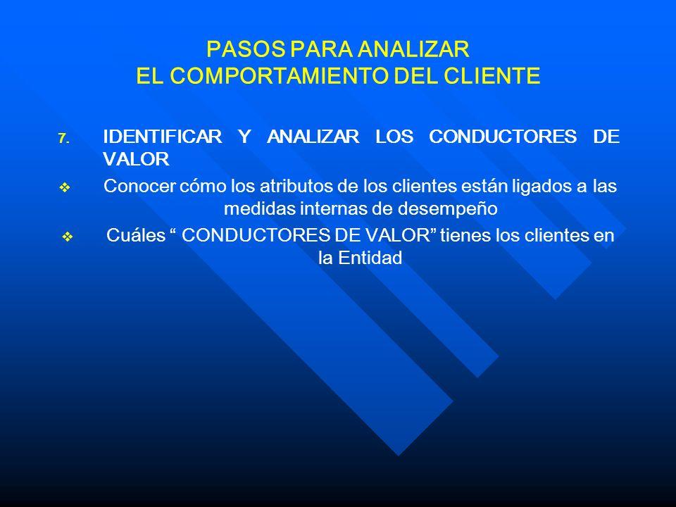 PASOS PARA ANALIZAR EL COMPORTAMIENTO DEL CLIENTE 7.