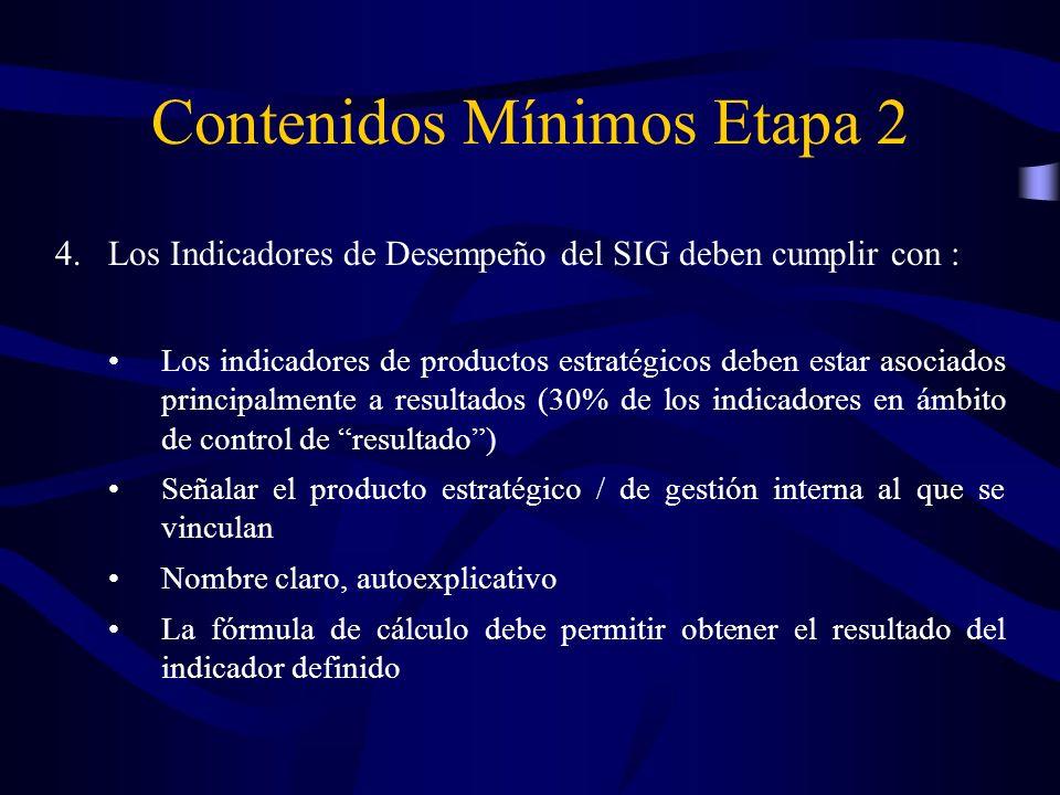 4.Los Indicadores de Desempeño del SIG deben cumplir con : Los indicadores de productos estratégicos deben estar asociados principalmente a resultados