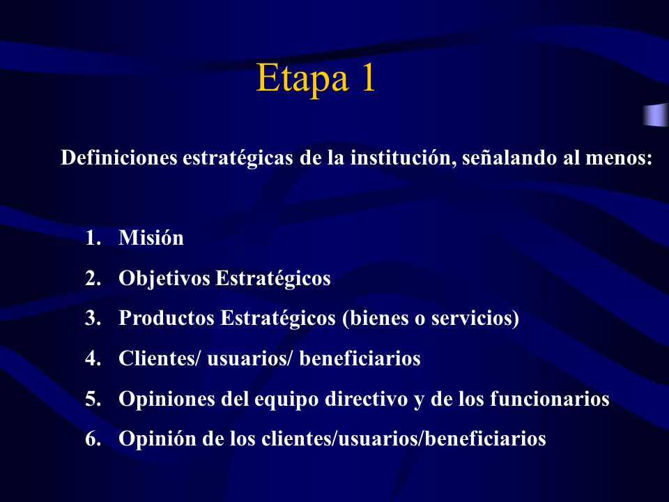 Definiciones estratégicas de la institución, señalando al menos: 1.Misión 2.Objetivos Estratégicos 3.Productos Estratégicos (bienes o servicios) 4.Cli