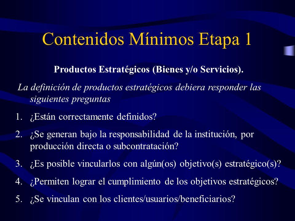 Productos Estratégicos (Bienes y/o Servicios). La definición de productos estratégicos debiera responder las siguientes preguntas 1.¿Están correctamen