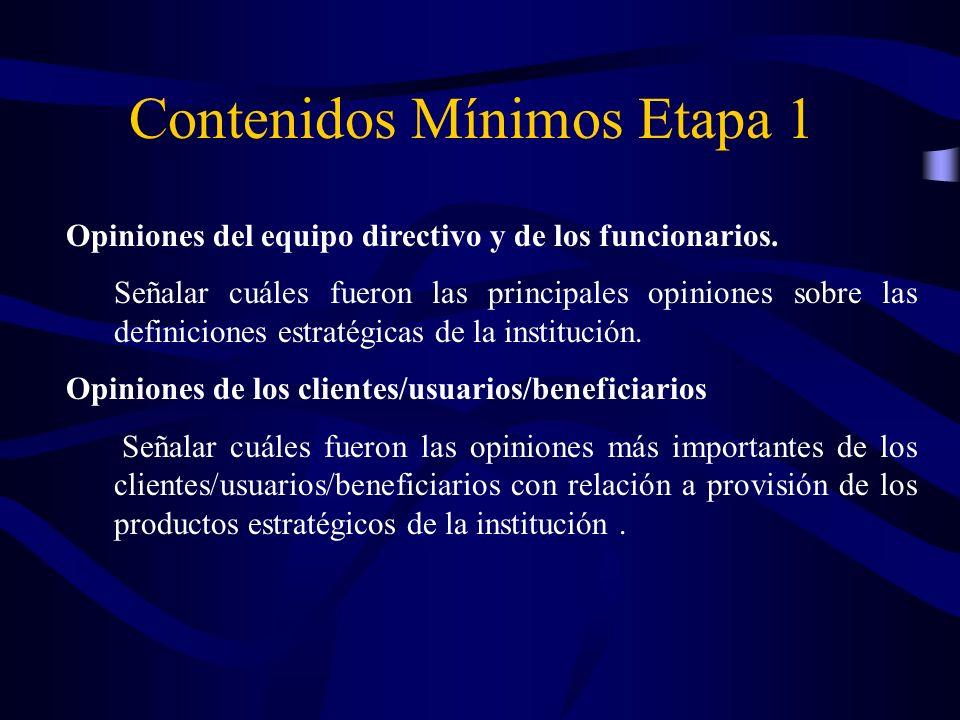 ¿Qué contenidos mínimos se debe tener en cuenta para validar la ETAPA 5?