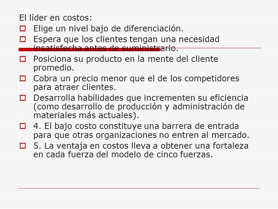 El líder en costos: Elige un nivel bajo de diferenciación. Espera que los clientes tengan una necesidad insatisfecha antes de suministrarlo. Posiciona