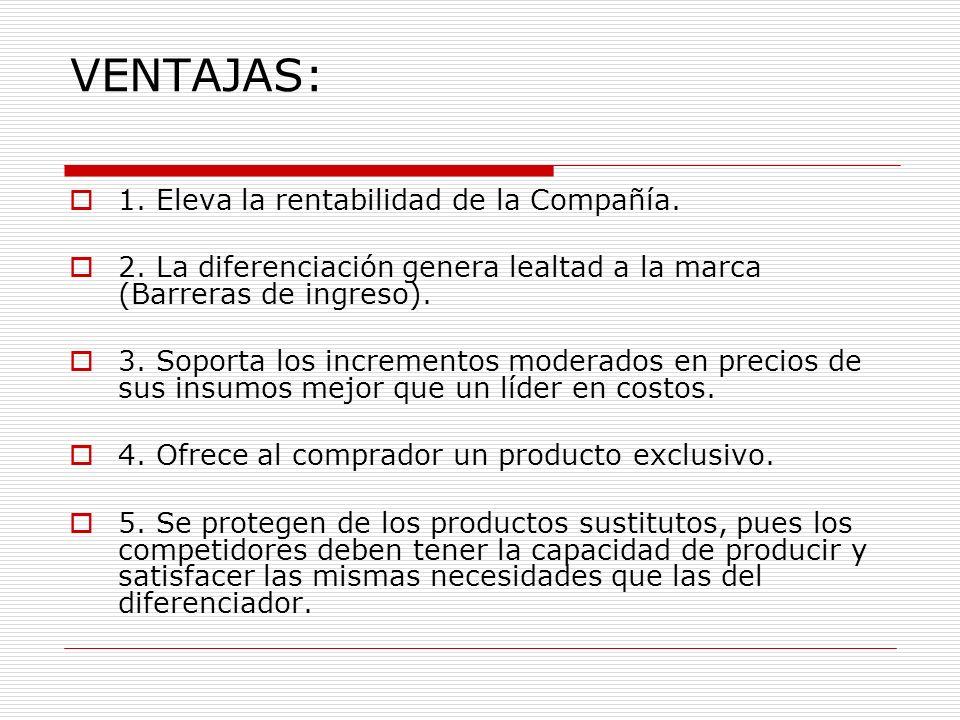 VENTAJAS: 1. Eleva la rentabilidad de la Compañía. 2. La diferenciación genera lealtad a la marca (Barreras de ingreso). 3. Soporta los incrementos mo