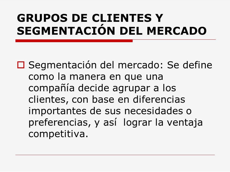 GRUPOS DE CLIENTES Y SEGMENTACIÓN DEL MERCADO Segmentación del mercado: Se define como la manera en que una compañía decide agrupar a los clientes, co