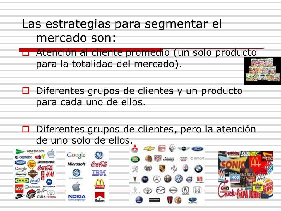 Las estrategias para segmentar el mercado son: Atención al cliente promedio (un solo producto para la totalidad del mercado). Diferentes grupos de cli