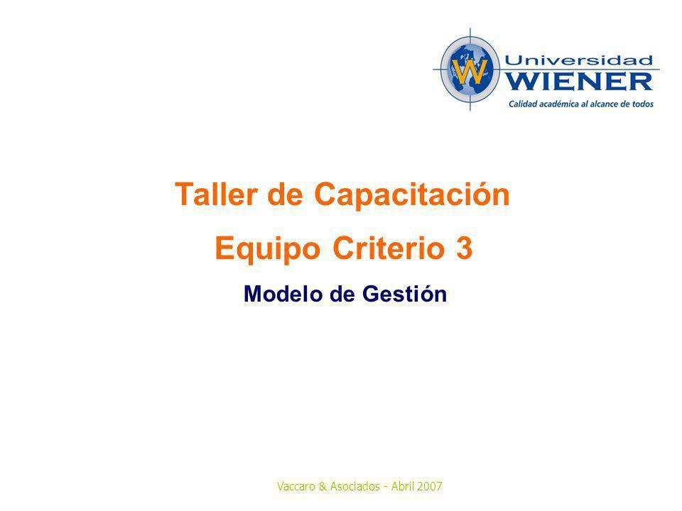 Vaccaro & Asociados - Abril 2007 Taller de Capacitación Equipo Criterio 3 Modelo de Gestión