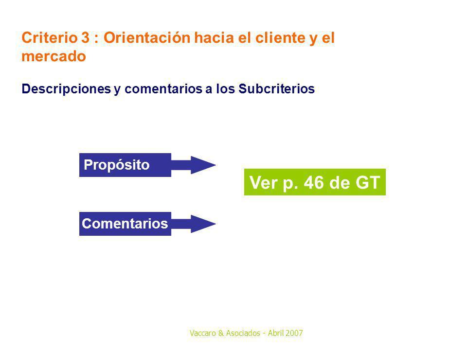 Vaccaro & Asociados - Abril 2007 Criterio 3 : Orientación hacia el cliente y el mercado Descripciones y comentarios a los Subcriterios Ver p. 46 de GT