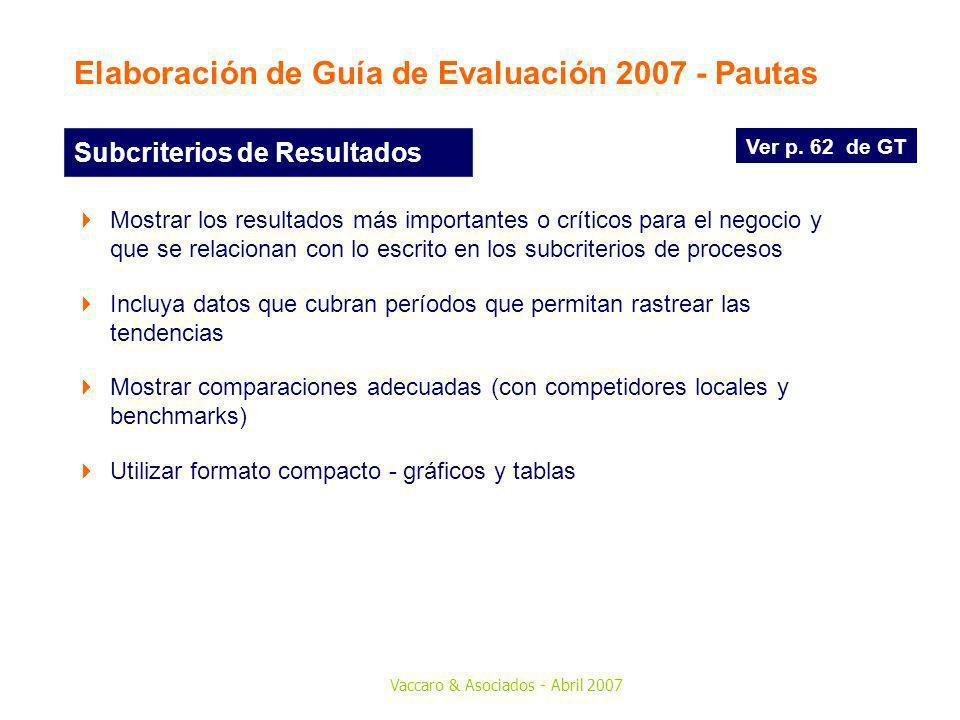 Vaccaro & Asociados - Abril 2007 Ver p. 62 de GT Subcriterios de Resultados Mostrar los resultados más importantes o críticos para el negocio y que se