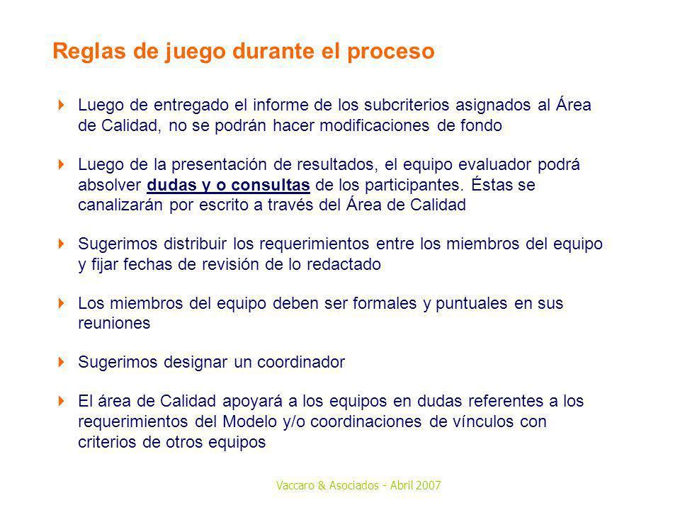 Vaccaro & Asociados - Abril 2007 Reglas de juego durante el proceso Luego de entregado el informe de los subcriterios asignados al Área de Calidad, no
