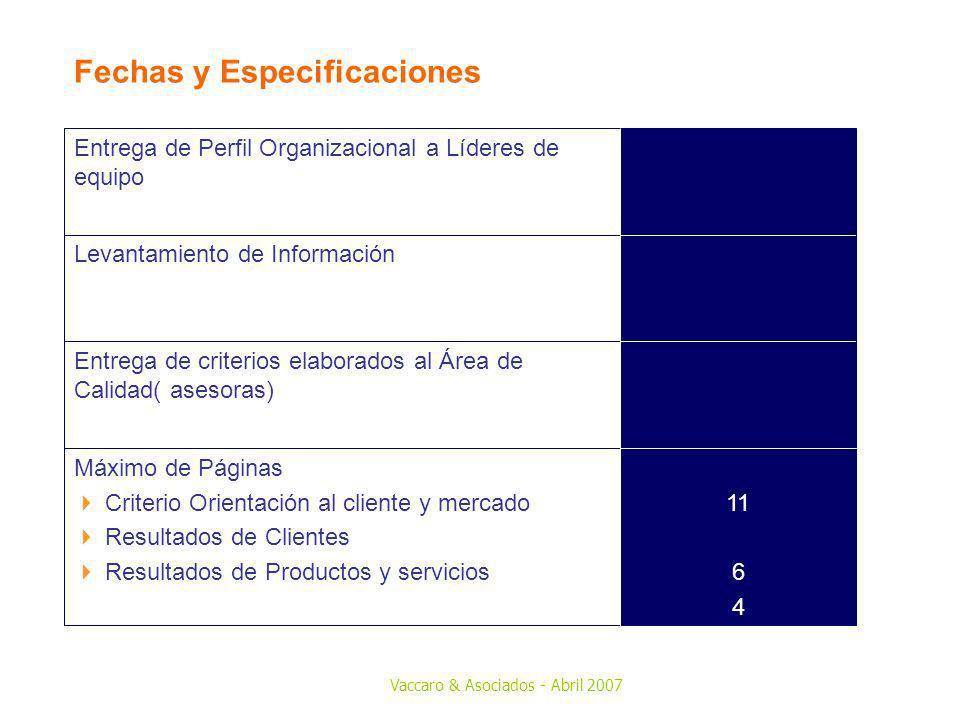 Vaccaro & Asociados - Abril 2007 Fechas y Especificaciones 11 6 4 Máximo de Páginas Criterio Orientación al cliente y mercado Resultados de Clientes R