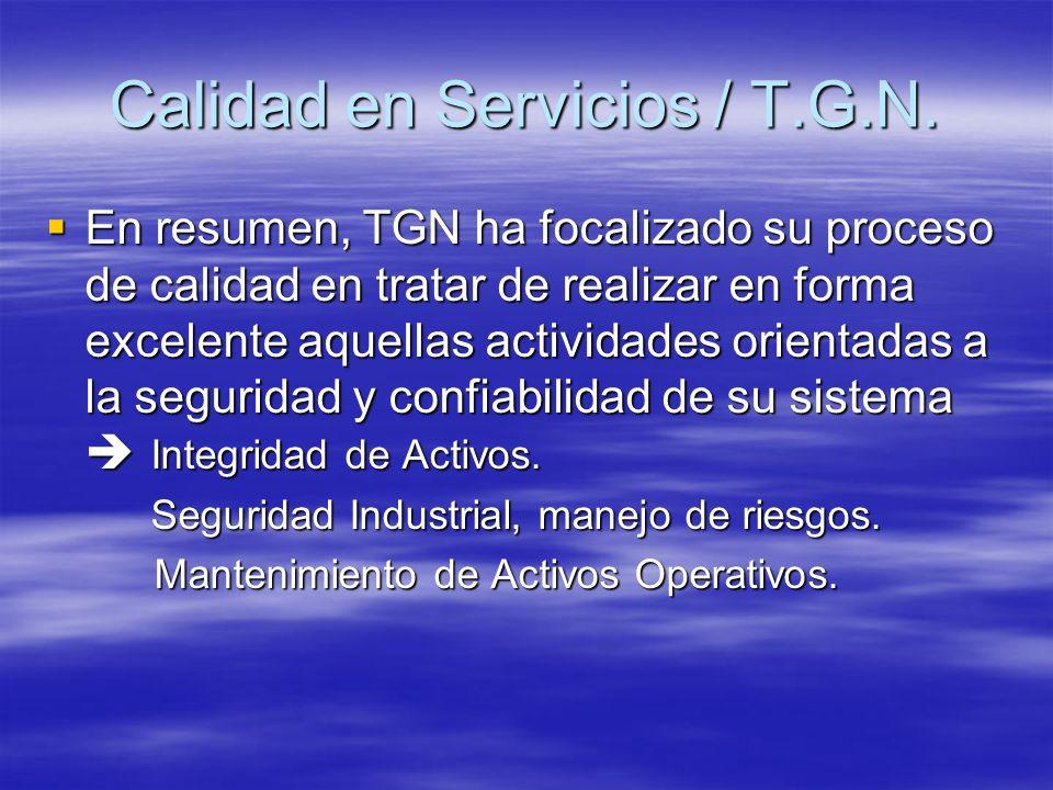 En resumen, TGN ha focalizado su proceso de calidad en tratar de realizar en forma excelente aquellas actividades orientadas a la seguridad y confiabi