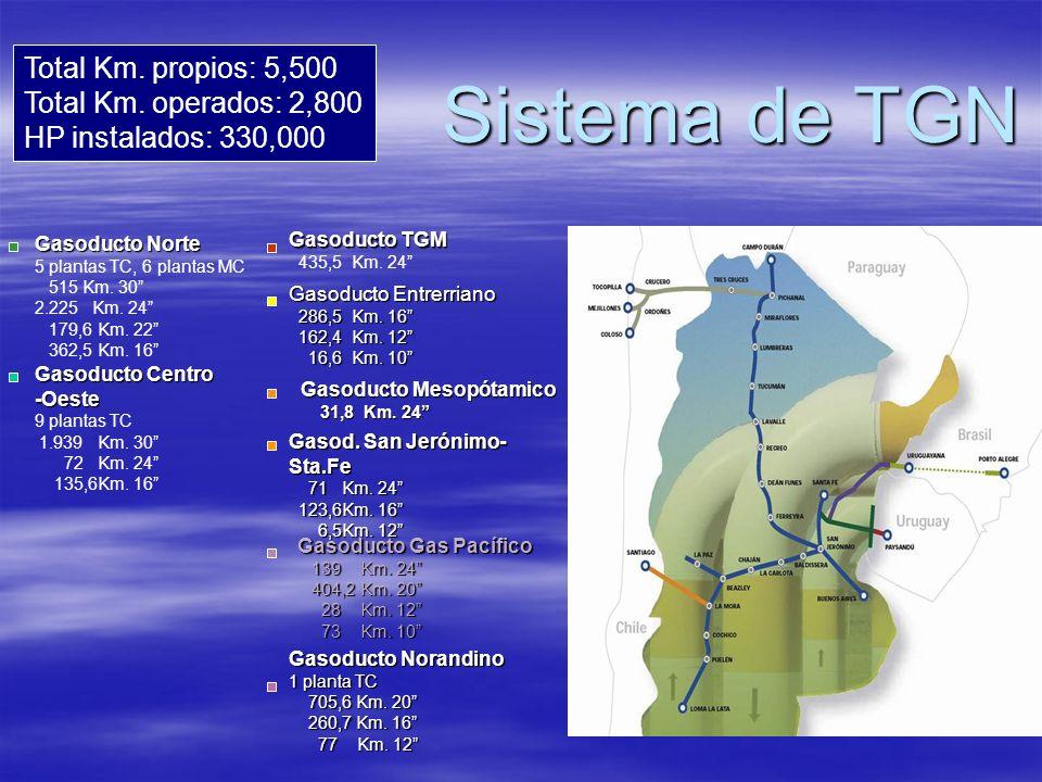 Sistema de TGN Gasoducto Norte 5 plantas TC, 6 plantas MC 515 Km. 30 2.225 Km. 24 179,6 Km. 22 362,5 Km. 16 Gasoducto Centro -Oeste 9 plantas TC 1.939