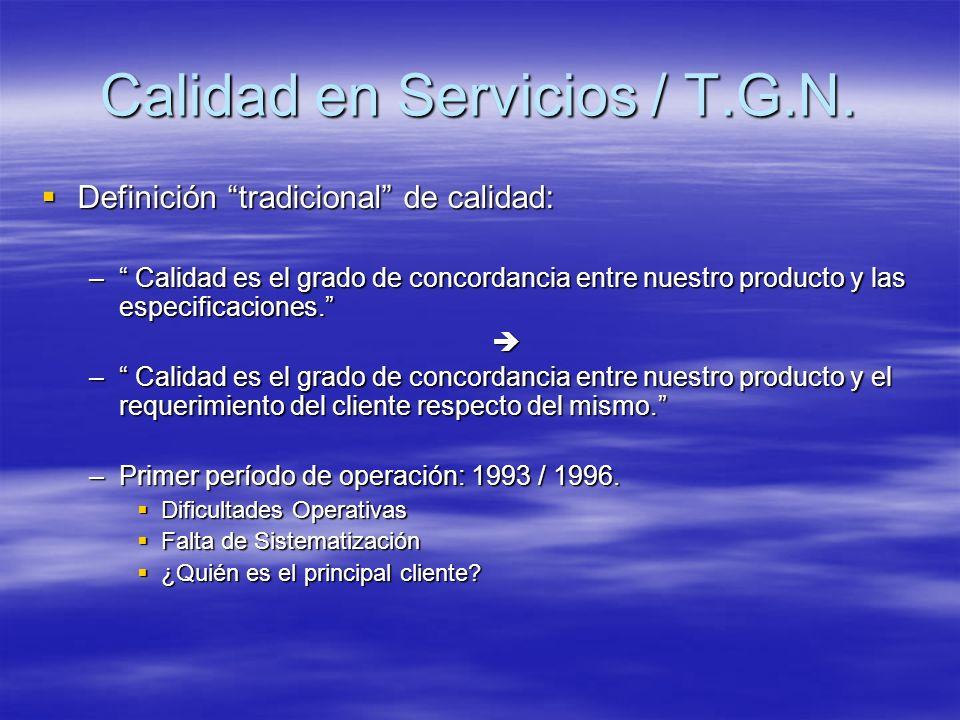 Definición tradicional de calidad: Definición tradicional de calidad: – Calidad es el grado de concordancia entre nuestro producto y las especificacio