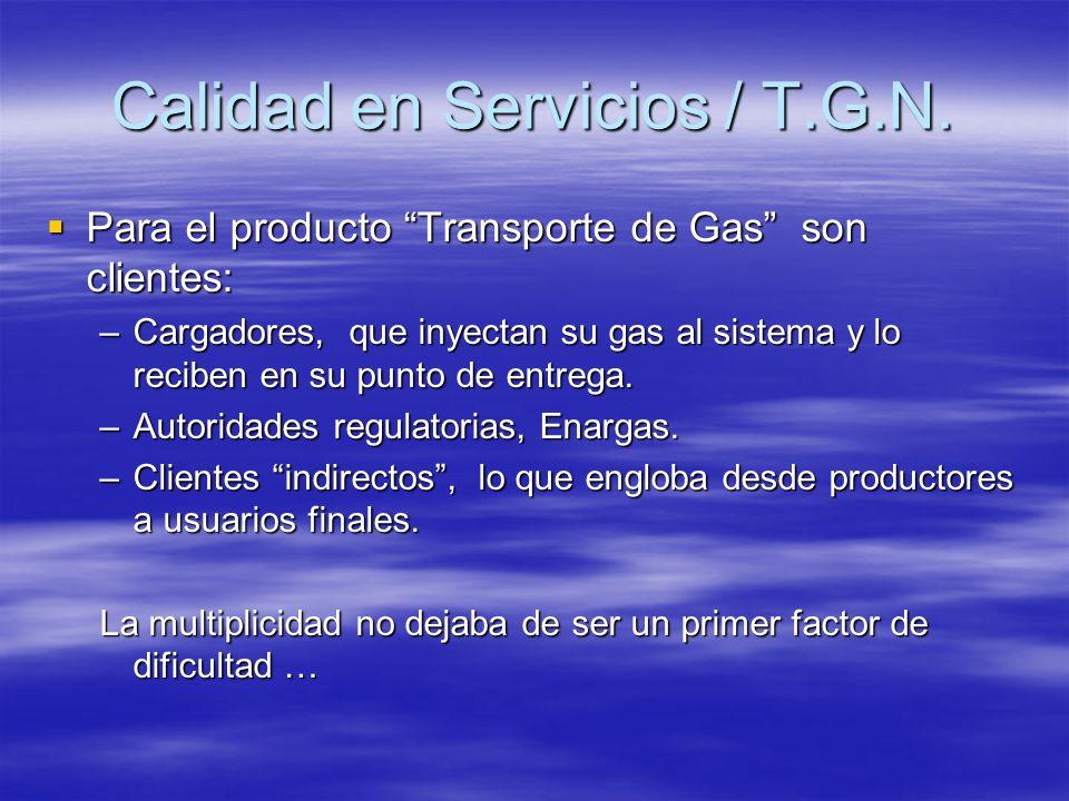 Para el producto Transporte de Gas son clientes: Para el producto Transporte de Gas son clientes: –Cargadores, que inyectan su gas al sistema y lo rec