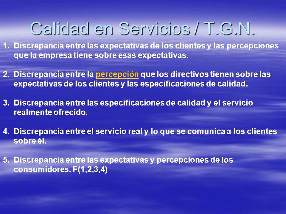 1.Discrepancia entre las expectativas de los clientes y las percepciones que la empresa tiene sobre esas expectativas. 2.Discrepancia entre la percepc