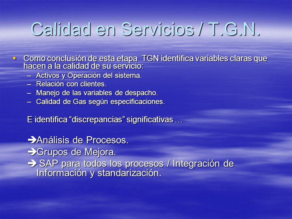 Como conclusión de esta etapa TGN identifica variables claras que hacen a la calidad de su servicio: Como conclusión de esta etapa TGN identifica vari