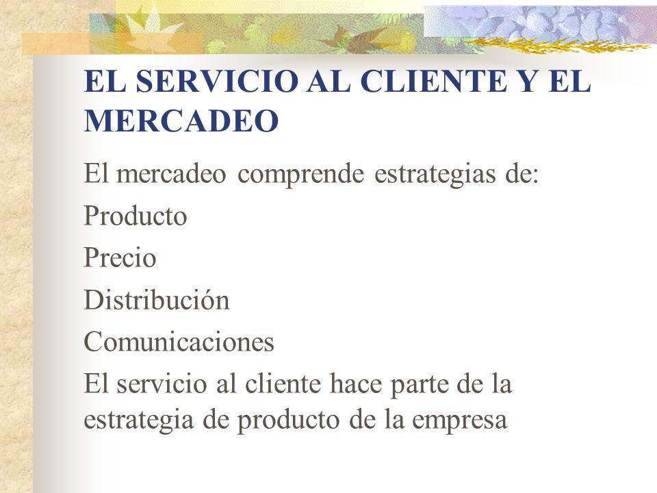 EL SERVICIO AL CLIENTE Y EL MERCADEO El mercadeo comprende estrategias de: Producto Precio Distribución Comunicaciones El servicio al cliente hace par
