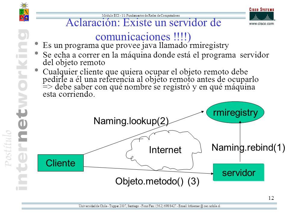Universidad de Chile - Tupper 2007, Santiago - Fono/Fax: (56 2) 698 8427 - Email: hthiemer @ cec.uchile.cl Módulo ECI - 11: Fundamentos de Redes de Computadores 12 Aclaración: Existe un servidor de comunicaciones !!!!) Es un programa que provee java llamado rmiregistry Se echa a correr en la máquina donde está el programa servidor del objeto remoto Cualquier cliente que quiera ocupar el objeto remoto debe pedirle a él una referencia al objeto remoto antes de ocuparlo => debe saber con qué nombre se registró y en qué máquina esta corriendo.