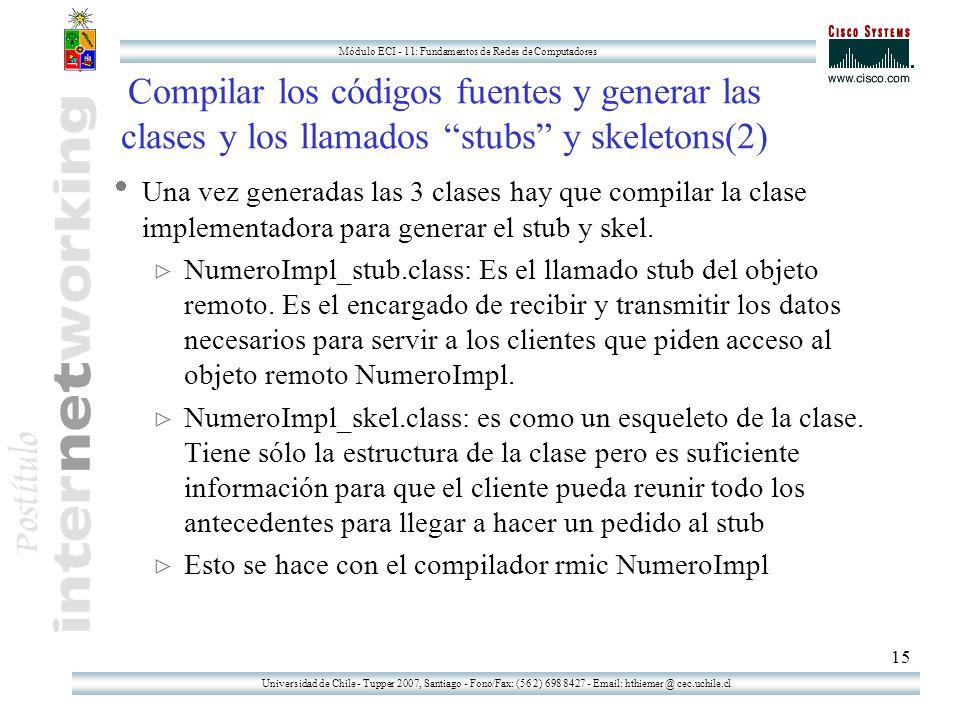 Universidad de Chile - Tupper 2007, Santiago - Fono/Fax: (56 2) 698 8427 - Email: hthiemer @ cec.uchile.cl Módulo ECI - 11: Fundamentos de Redes de Computadores 15 Compilar los códigos fuentes y generar las clases y los llamados stubs y skeletons(2) Una vez generadas las 3 clases hay que compilar la clase implementadora para generar el stub y skel.