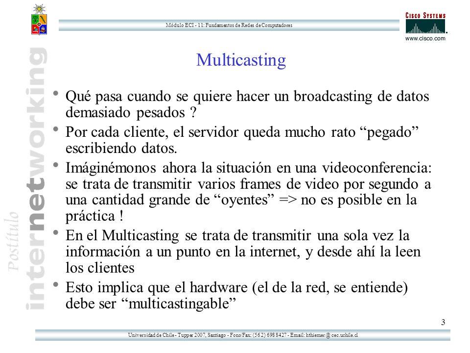 Universidad de Chile - Tupper 2007, Santiago - Fono/Fax: (56 2) 698 8427 - Email: hthiemer @ cec.uchile.cl Módulo ECI - 11: Fundamentos de Redes de Computadores 3 Multicasting Qué pasa cuando se quiere hacer un broadcasting de datos demasiado pesados .