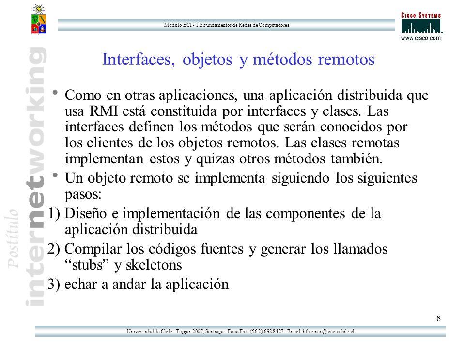 Universidad de Chile - Tupper 2007, Santiago - Fono/Fax: (56 2) 698 8427 - Email: hthiemer @ cec.uchile.cl Módulo ECI - 11: Fundamentos de Redes de Computadores 8 Interfaces, objetos y métodos remotos Como en otras aplicaciones, una aplicación distribuida que usa RMI está constituida por interfaces y clases.
