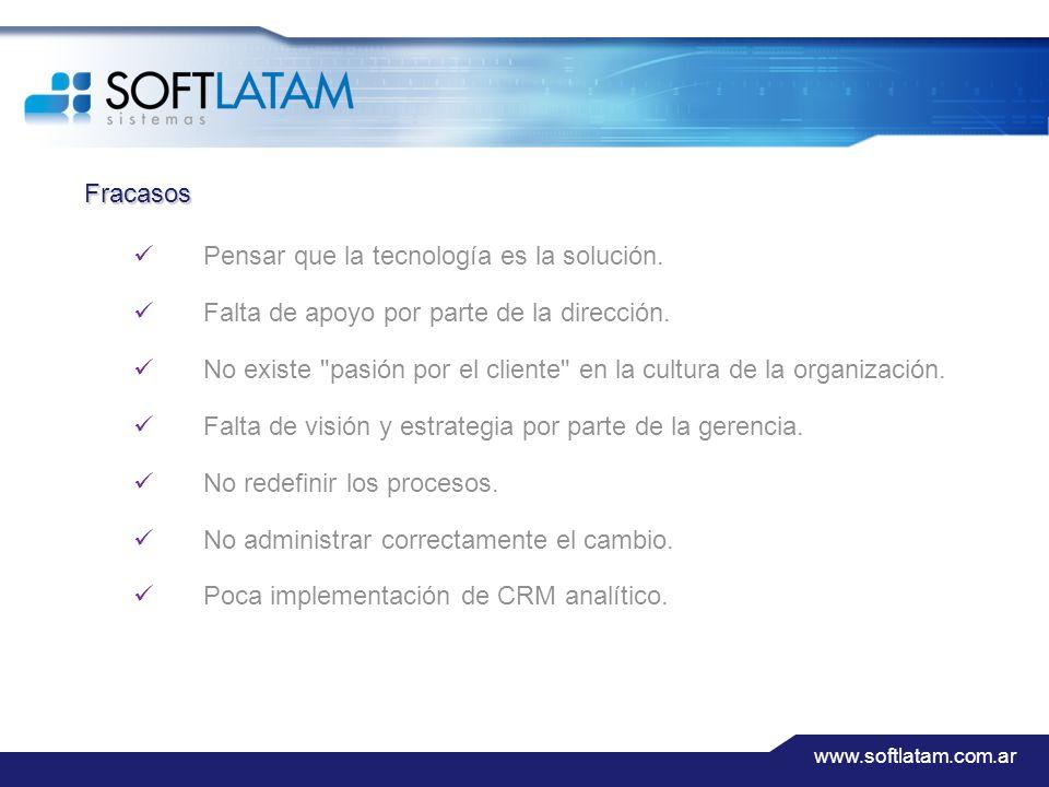 www.softlatam.com.ar Fracasos Pensar que la tecnología es la solución.