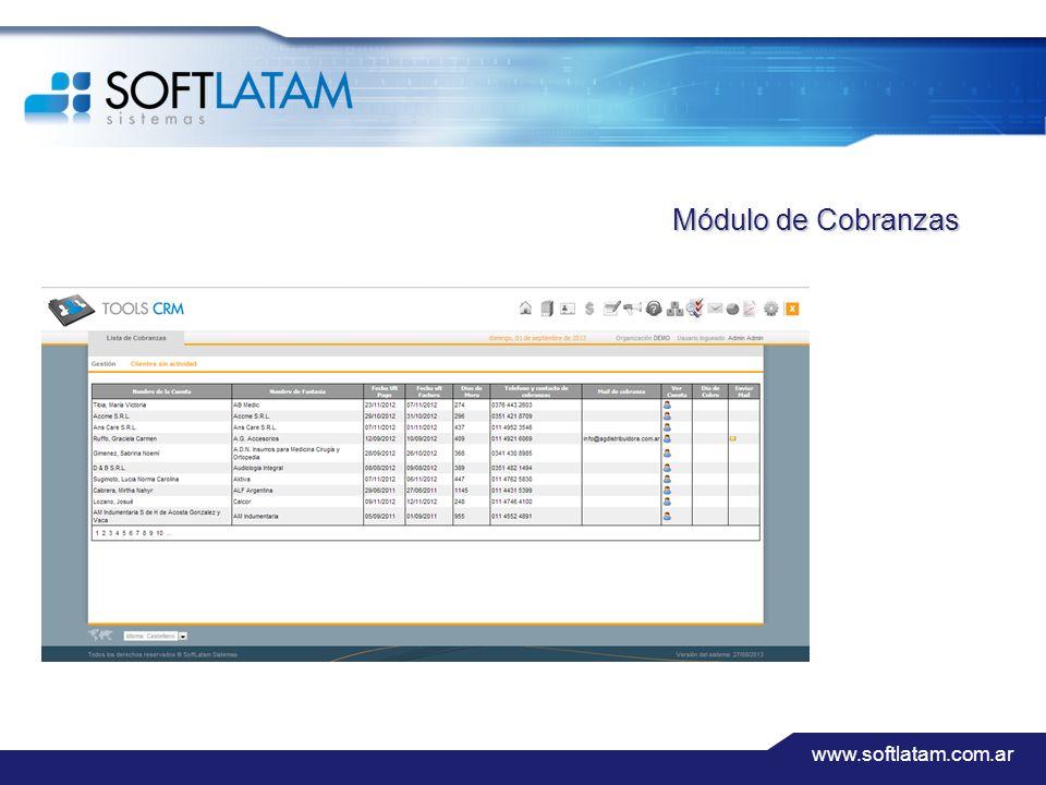www.softlatam.com.ar Módulo de Cobranzas