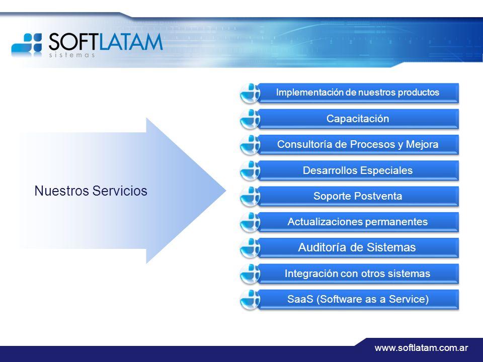 www.softlatam.com.ar Implementación de nuestros productos Capacitación Consultoría de Procesos y Mejora Desarrollos Especiales Soporte Postventa Actualizaciones permanentes Auditoría de Sistemas Integración con otros sistemas SaaS (Software as a Service) Nuestros Servicios
