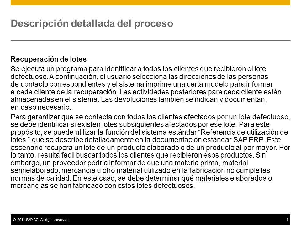 ©2011 SAP AG. All rights reserved.4 Descripción detallada del proceso Recuperación de lotes Se ejecuta un programa para identificar a todos los client
