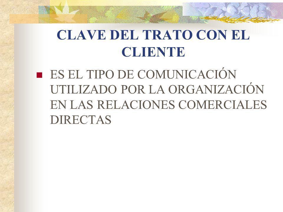CLAVE DEL TRATO CON EL CLIENTE ES EL TIPO DE COMUNICACIÓN UTILIZADO POR LA ORGANIZACIÓN EN LAS RELACIONES COMERCIALES DIRECTAS