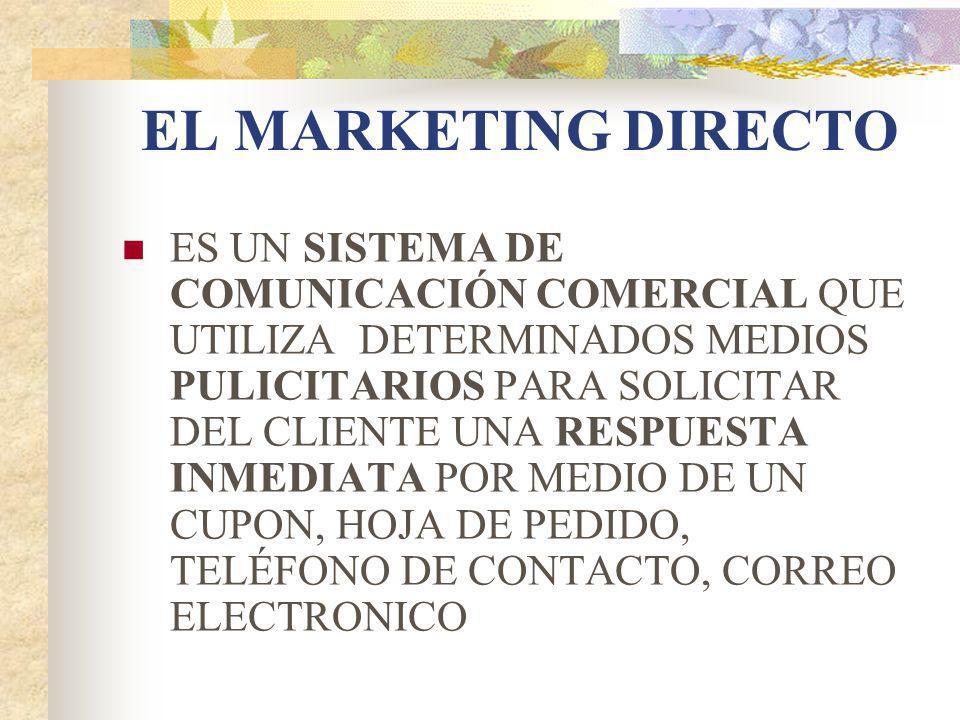 EL MARKETING DIRECTO ES UN SISTEMA DE COMUNICACIÓN COMERCIAL QUE UTILIZA DETERMINADOS MEDIOS PULICITARIOS PARA SOLICITAR DEL CLIENTE UNA RESPUESTA INM