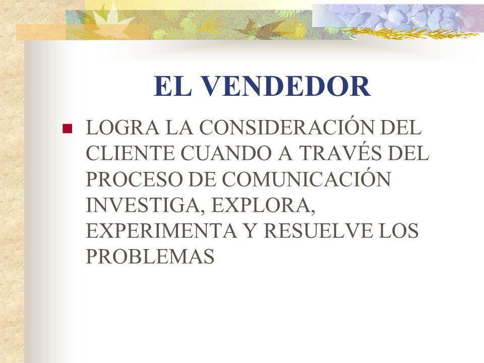EL VENDEDOR LOGRA LA CONSIDERACIÓN DEL CLIENTE CUANDO A TRAVÉS DEL PROCESO DE COMUNICACIÓN INVESTIGA, EXPLORA, EXPERIMENTA Y RESUELVE LOS PROBLEMAS