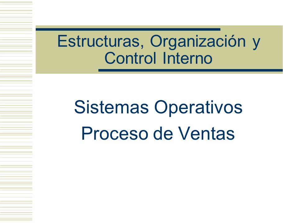 Estructuras, Organización y Control Interno Sistemas Operativos Proceso de Ventas