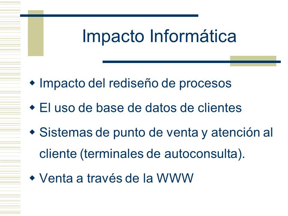 Impacto Informática Impacto del rediseño de procesos El uso de base de datos de clientes Sistemas de punto de venta y atención al cliente (terminales