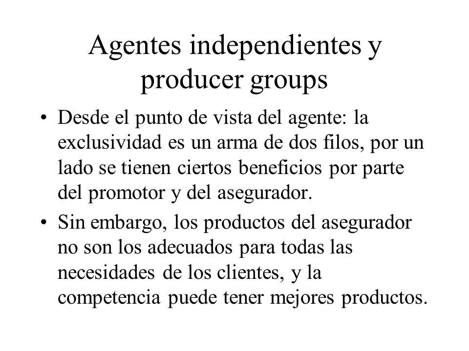 Agentes independientes y producer groups Desde el punto de vista del agente: la exclusividad es un arma de dos filos, por un lado se tienen ciertos beneficios por parte del promotor y del asegurador.
