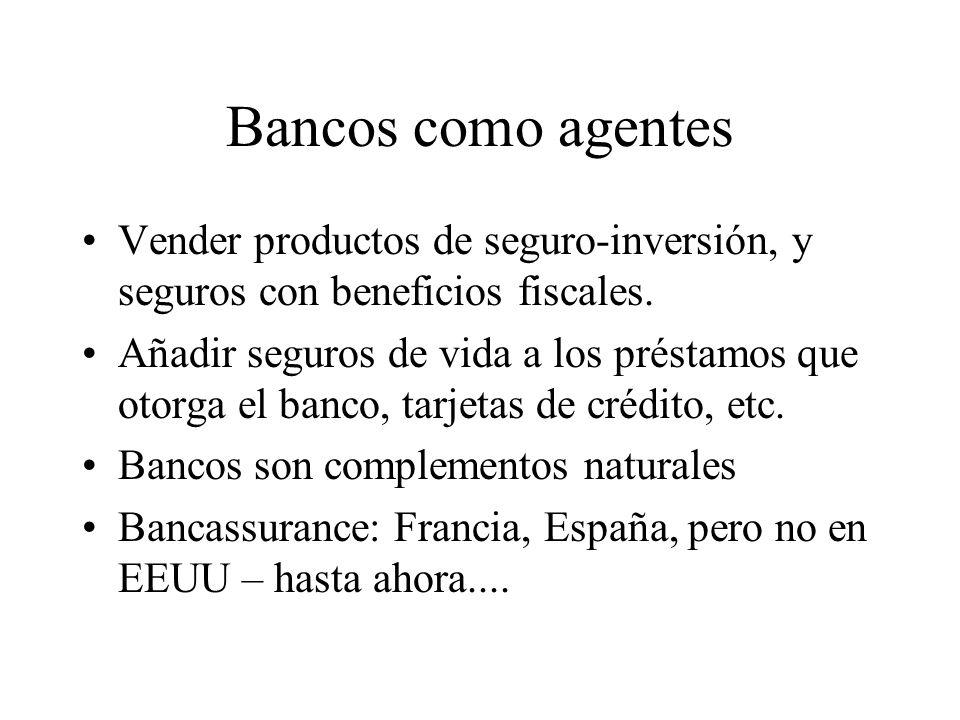 Bancos como agentes Vender productos de seguro-inversión, y seguros con beneficios fiscales.