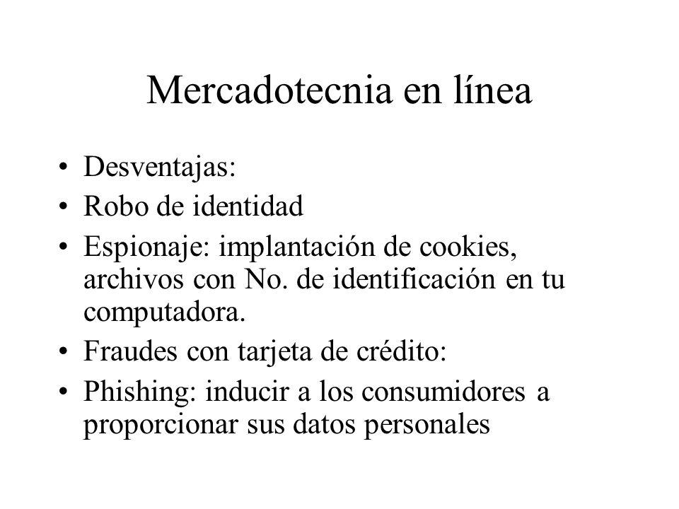 Mercadotecnia en línea Desventajas: Robo de identidad Espionaje: implantación de cookies, archivos con No.