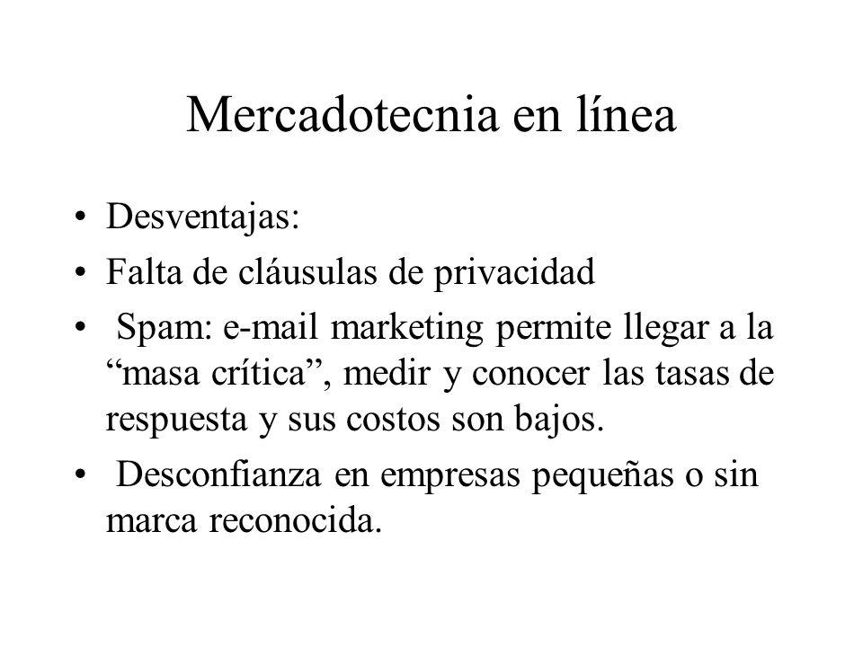 Mercadotecnia en línea Desventajas: Falta de cláusulas de privacidad Spam: e-mail marketing permite llegar a la masa crítica, medir y conocer las tasas de respuesta y sus costos son bajos.