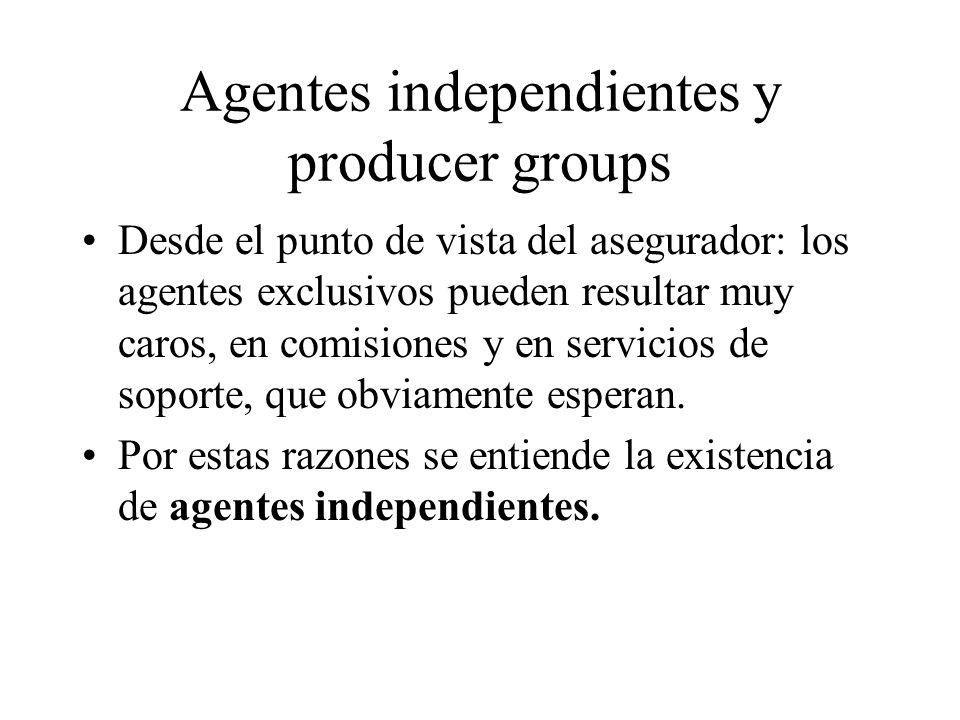 Agentes independientes y producer groups Desde el punto de vista del asegurador: los agentes exclusivos pueden resultar muy caros, en comisiones y en servicios de soporte, que obviamente esperan.
