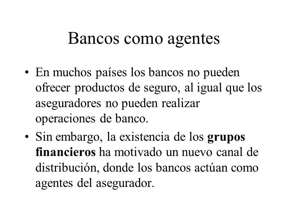 Bancos como agentes En muchos países los bancos no pueden ofrecer productos de seguro, al igual que los aseguradores no pueden realizar operaciones de banco.