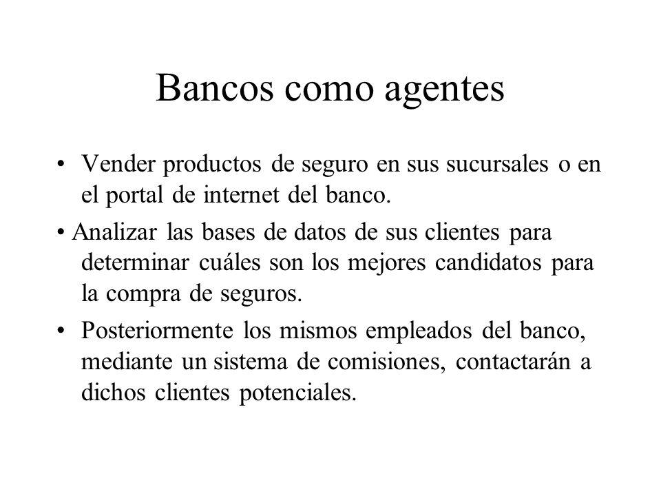 Bancos como agentes Vender productos de seguro en sus sucursales o en el portal de internet del banco.
