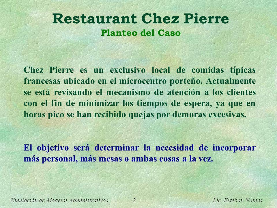 Simulación de Modelos Administrativos 1 Lic. Esteban Nantes Simulación de Modelos Administrativos Esteban Nantes Caso de Estudio - Restaurant Chez Pie