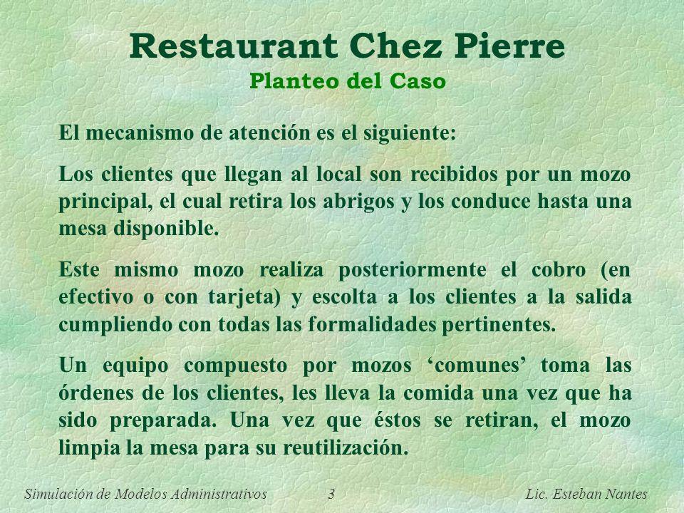 Simulación de Modelos Administrativos 2 Lic. Esteban Nantes Restaurant Chez Pierre Planteo del Caso Chez Pierre es un exclusivo local de comidas típic