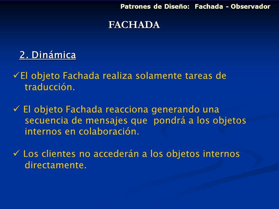 Patrones de Diseño: Fachada - Observador El objeto Fachada realiza solamente tareas de traducción. El objeto Fachada reacciona generando una secuencia